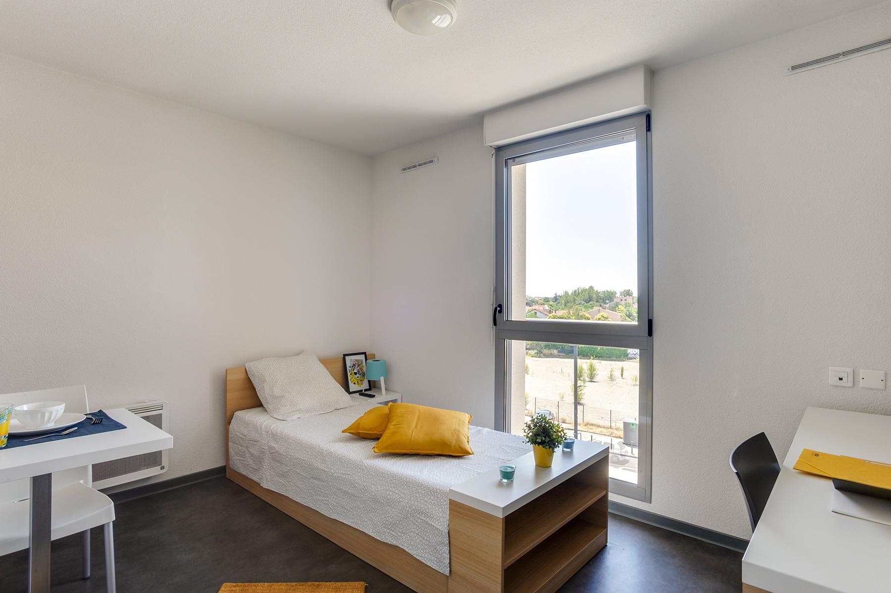 rangement lit résidence étudiante LOGIFAC Toulouse Le Cerdana