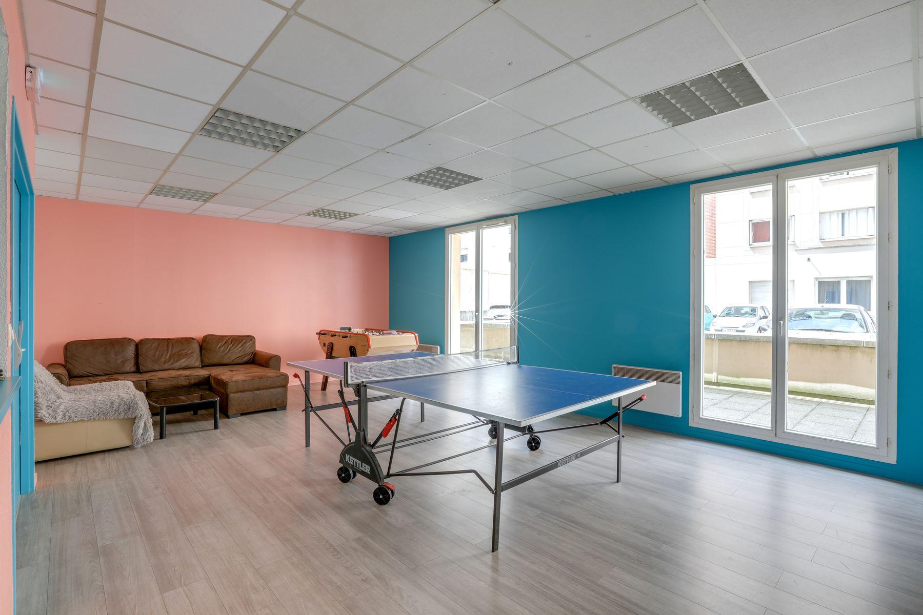 LOGIFAC résidence étudiante Gambetta Rouen salle de détente