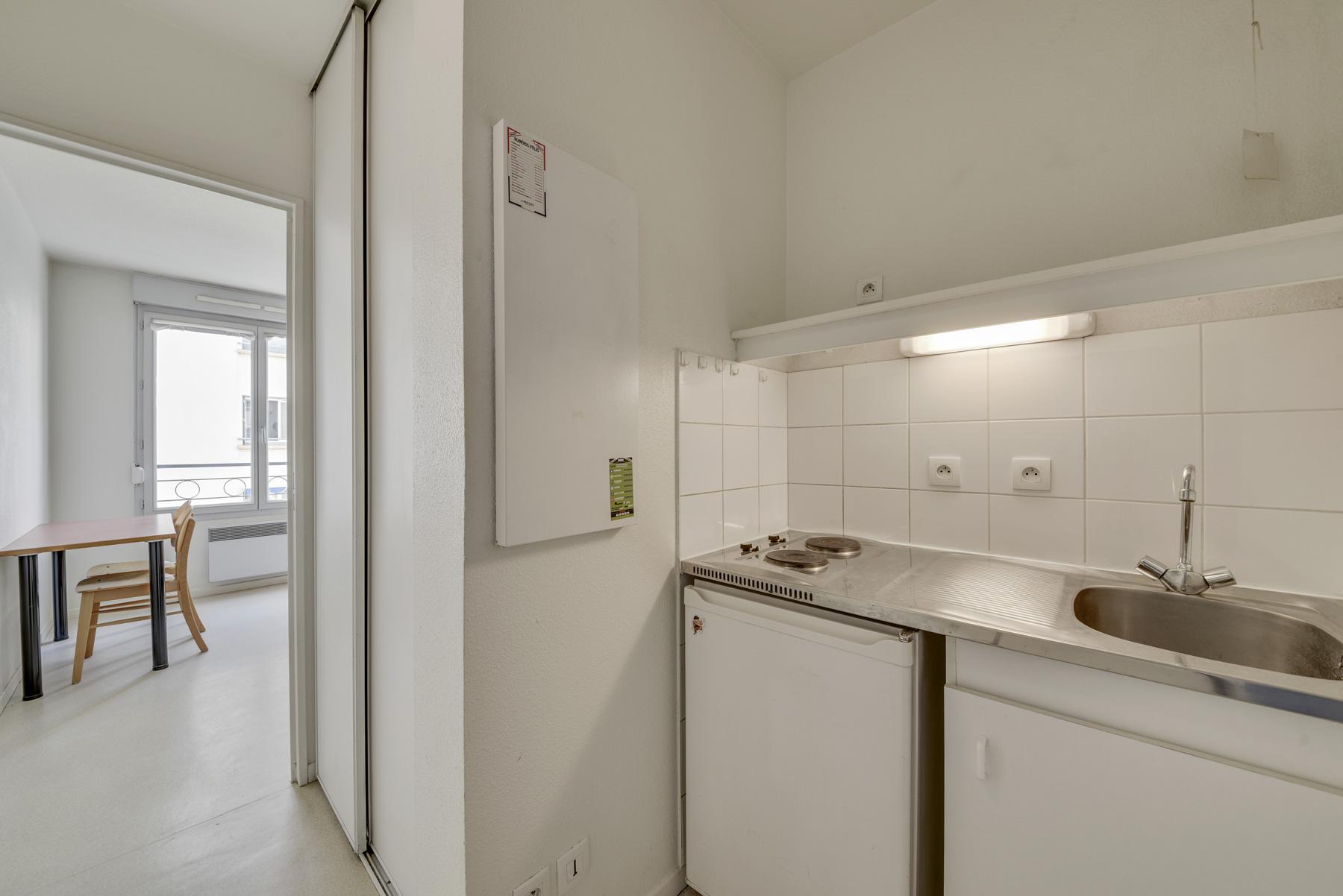 cuisine et studio résidence étudiante Athénée Lyon LOGIFAC